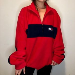 vintage Tommy Hilfiger red half zip sweater